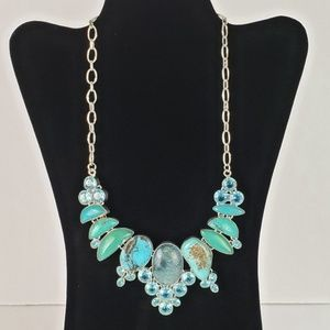 Bright Silver Tone Statement Necklace